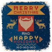 Gestrickte weihnachts-postkarte — Stockvektor