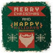 Knitted christmas postcard — Stok Vektör