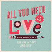 Vintage style valentines day poster — Stock Vector
