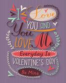 Vintage valentine's day poster — Vecteur