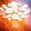 Abstract, vintage geometric background with clouds — Stock Vector
