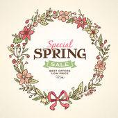 Spring wreath illustration — Stock Vector