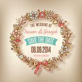 Wedding card with wreath — Stock Vector