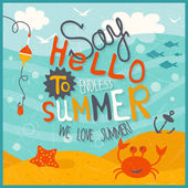 Funny summer illustration — Vector de stock