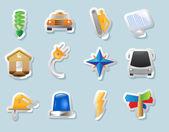 Icone di adesivo per industria — Vettoriale Stock