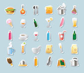 Sticker icons for food and drinks — Stock Vector
