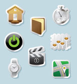 Sticker icons for signs and interface — Stock Vector