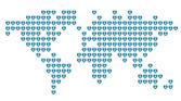 Gestippelde wereldkaart — Stockvector