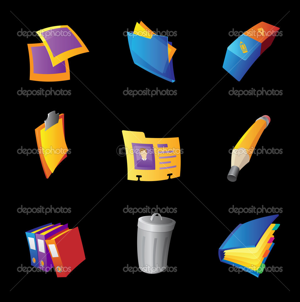 Icons for office, black background. Vector illustration.  Stock Vector #13372569