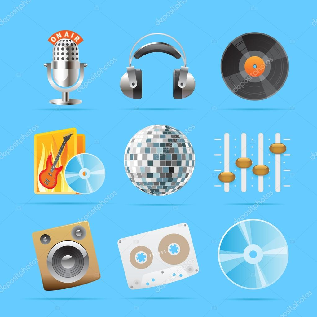 Icons for sound. Vector illustration. — Stock Vector #13372605