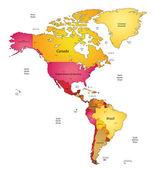 Mappa delle americhe — Vettoriale Stock