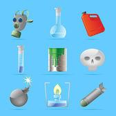 Ikony pro nebezpečné chemie — Stock vektor