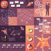Infographics of flat design with long shadows — Stok Vektör