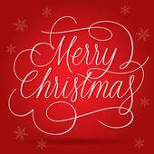 Lema de saludos de feliz navidad sobre fondo rojo — Vector de stock