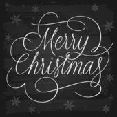 Lema de saludos de feliz navidad en pizarra — Vector de stock