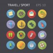 Flat Icons For Travel and Sport — Stock Vector