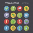 Flat Icons For Ecology — Stock Vector