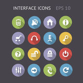 Flat Icons For Interface — Stock Vector
