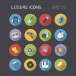 Flat Icons For Leisure — Vector de stock #41430443