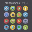 Flat Icons For Transportation — Stock Vector