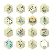 Thin Line Icons For Medical — Stok Vektör