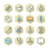Iconos de líneas finas para médicos — Vector de stock