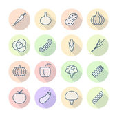 Thin Line Icons For Vegetables — Vetorial Stock