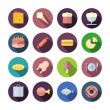 Flat Design Icons For Food — Stock Vector