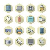тонкая линия иконки для технологии — Cтоковый вектор