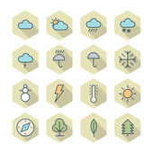 Thin Line Icons For Weather and Nature — Stock Vector