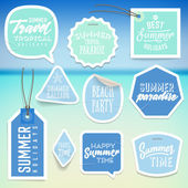 Summer holiday vacation stickers and labels — Stockvektor