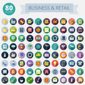 Flat Design Icons For Business and Retail — Stock Vector