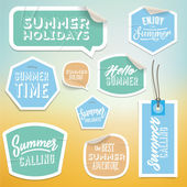 Summer holiday vacation stickers and labels — Stock Vector