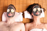 Couples retreat facial mask spa — Stock Photo