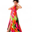 Fashion woman in colorful dress — Stock Photo #3068402