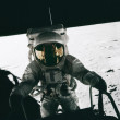 Astronaut Pete Conrad steps out onto the Moon - Stock Photo