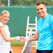 Showing true sportsmanship - Stock Photo