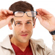 Clearing his vision for better clarity - Stock Photo