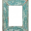 Turquoise frame with chipped paint - Stock Photo