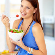 Enjoying a delicious and healthy meal - Foto Stock