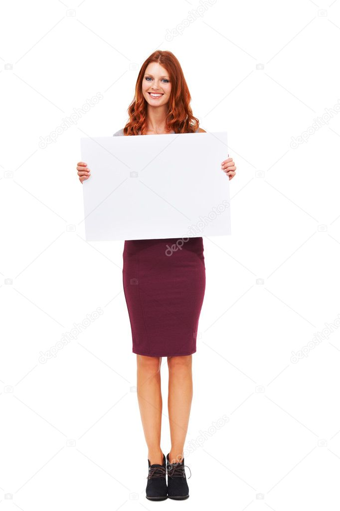 Portrait of an attractive young woman holding a sign isolated on white - Copyspace — 图库照片 #13602928