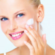 Keeping her skin in beautiful condition - Stock Photo