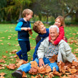 Fun with granny and grandpa in the leaves - Stock Photo
