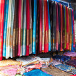 Scarf stall at a market - Stock Photo
