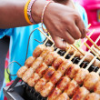 An assortment of meats on a stick - Stock Photo