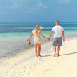 Royalty-Free Stock Photo: Happy couple walking on a beach holding hands