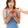 Royalty-Free Stock Photo: Get your hands off my strawberries!