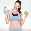 Staying healthy through her diet - Stock Photo
