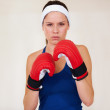 Taking her workout seriously! - Foto Stock
