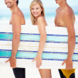 Surfers in summer - Stock Photo